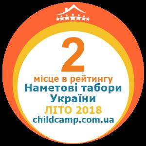 Місце табору в рейтингу Кращі наметові табори України за Літо 2018 за відгуками батьків на childcamp.com.ua - портал дитячих таборів